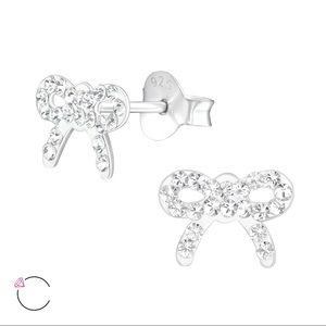Children's Sterling Clear Swarovski bow earrings